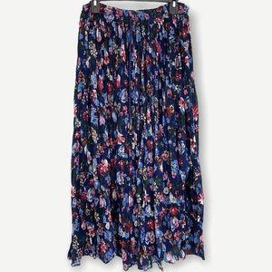 Boho Floral Broomstick Cotton Midi Skirt One Size